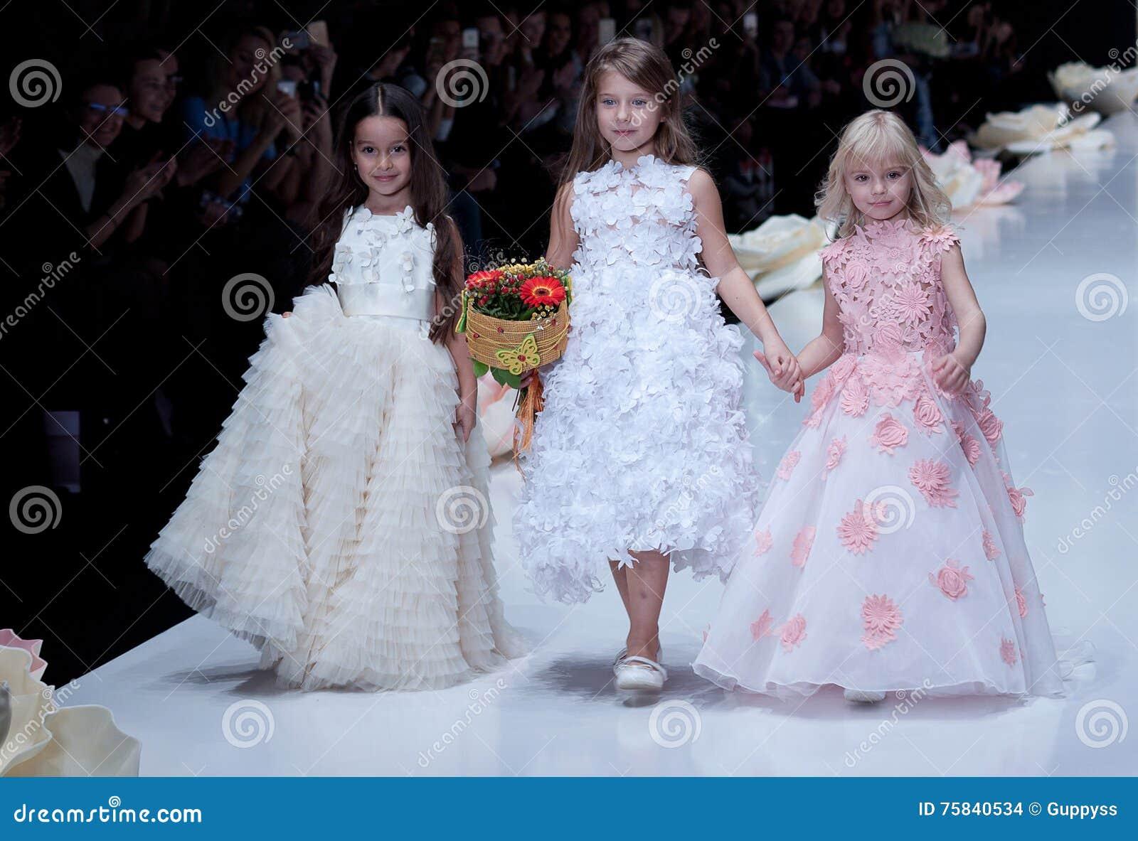 Fashion Show Kids Girsl On Podium Editorial Stock Image Image