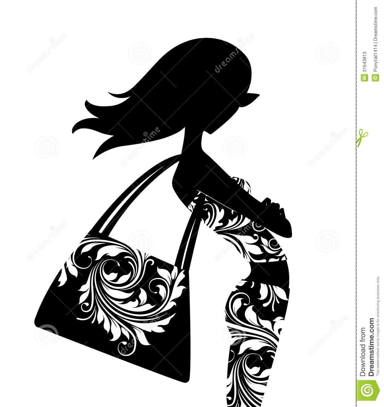 Silhouette of a chic young woman with a large handbag posing in