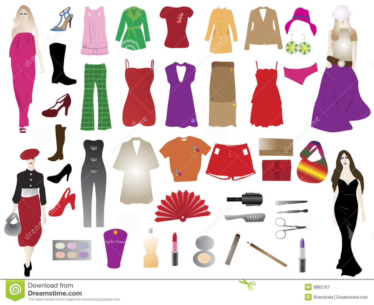 Fashion Silhouettes And Elements Royalty Free Stock
