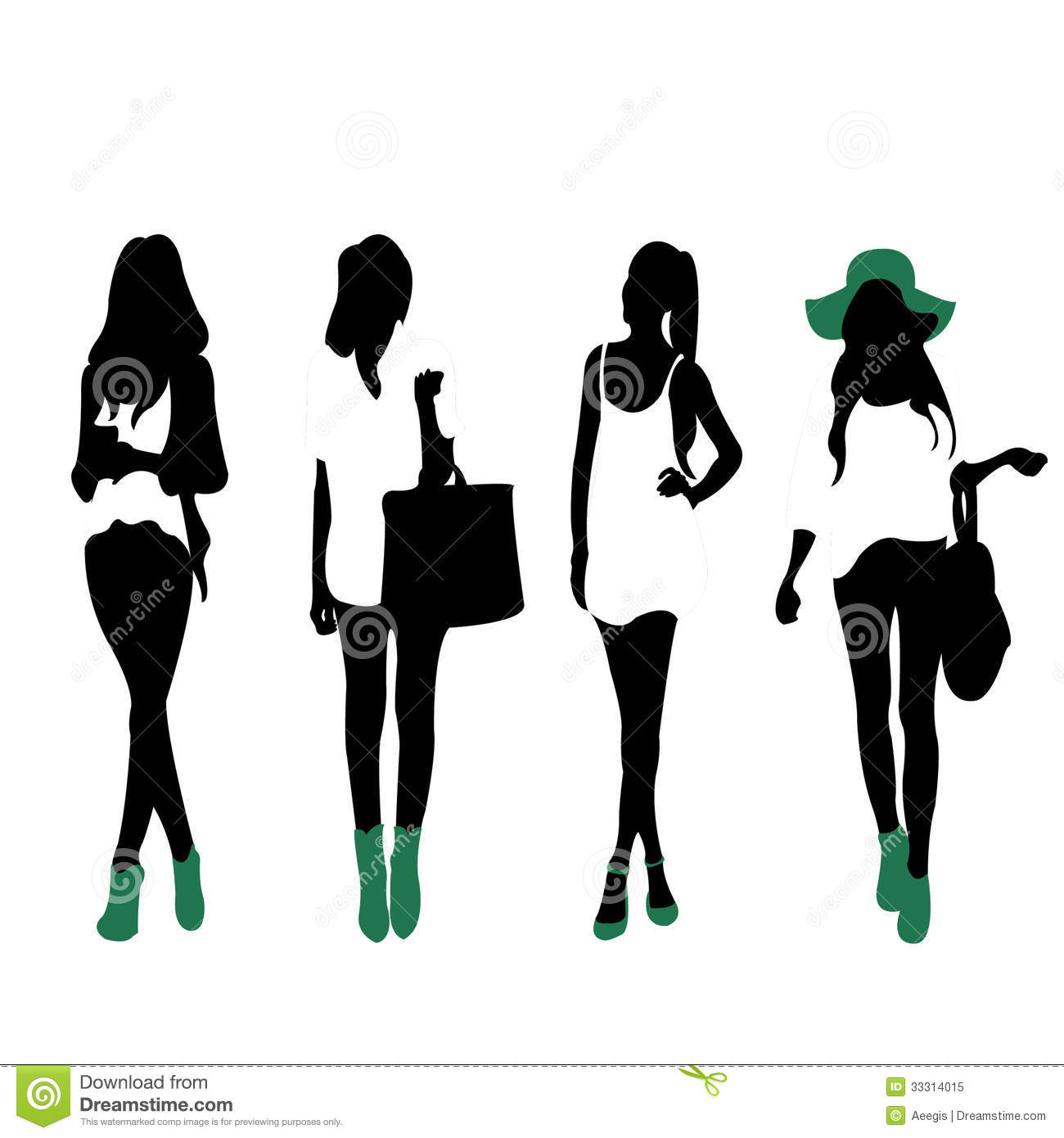 Female Silhouettes Vector Collection People Free Vector ...