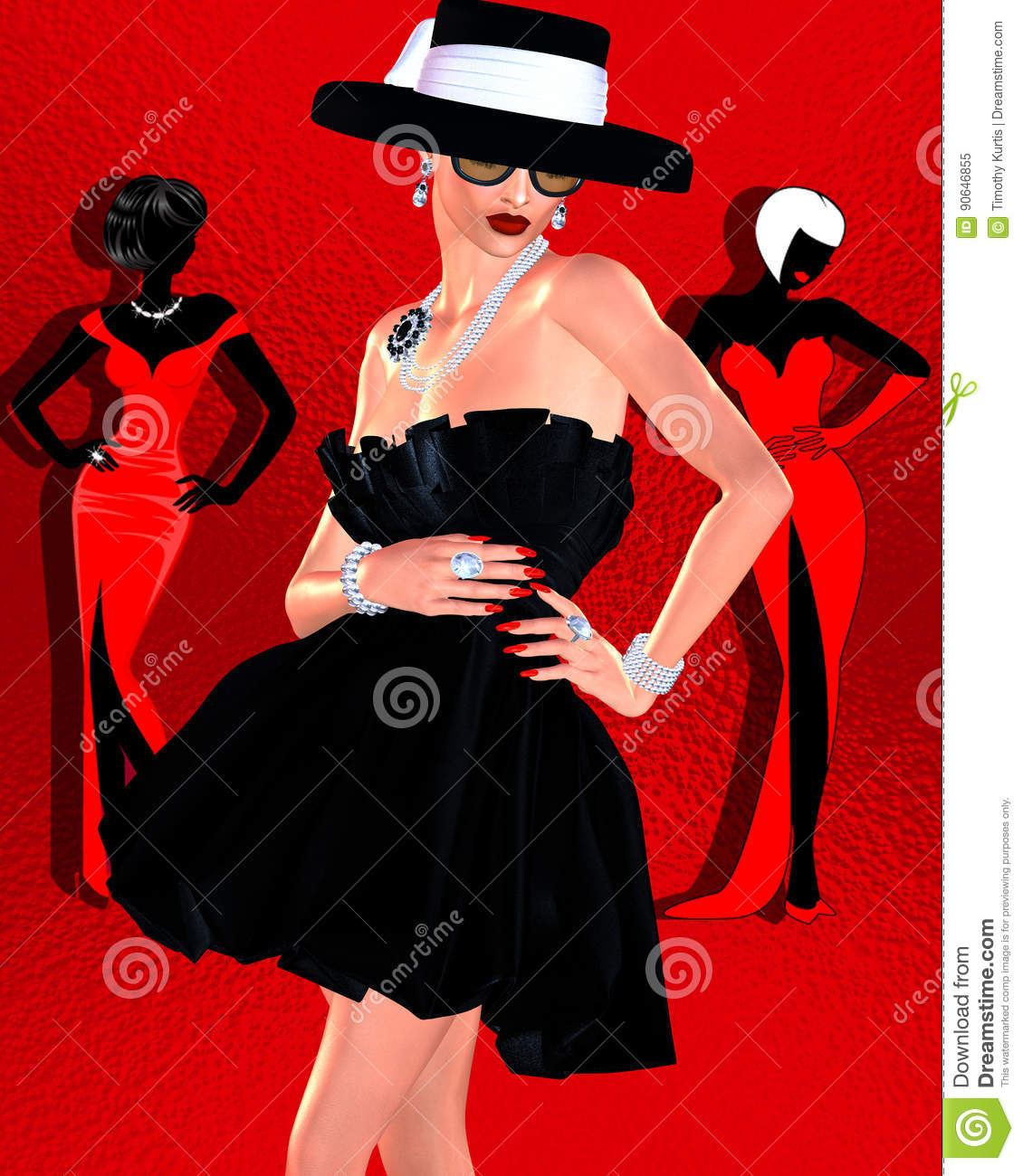 Fashion sketch,attractive woman in vintage style black dress and hat in our 3d render digital art style.