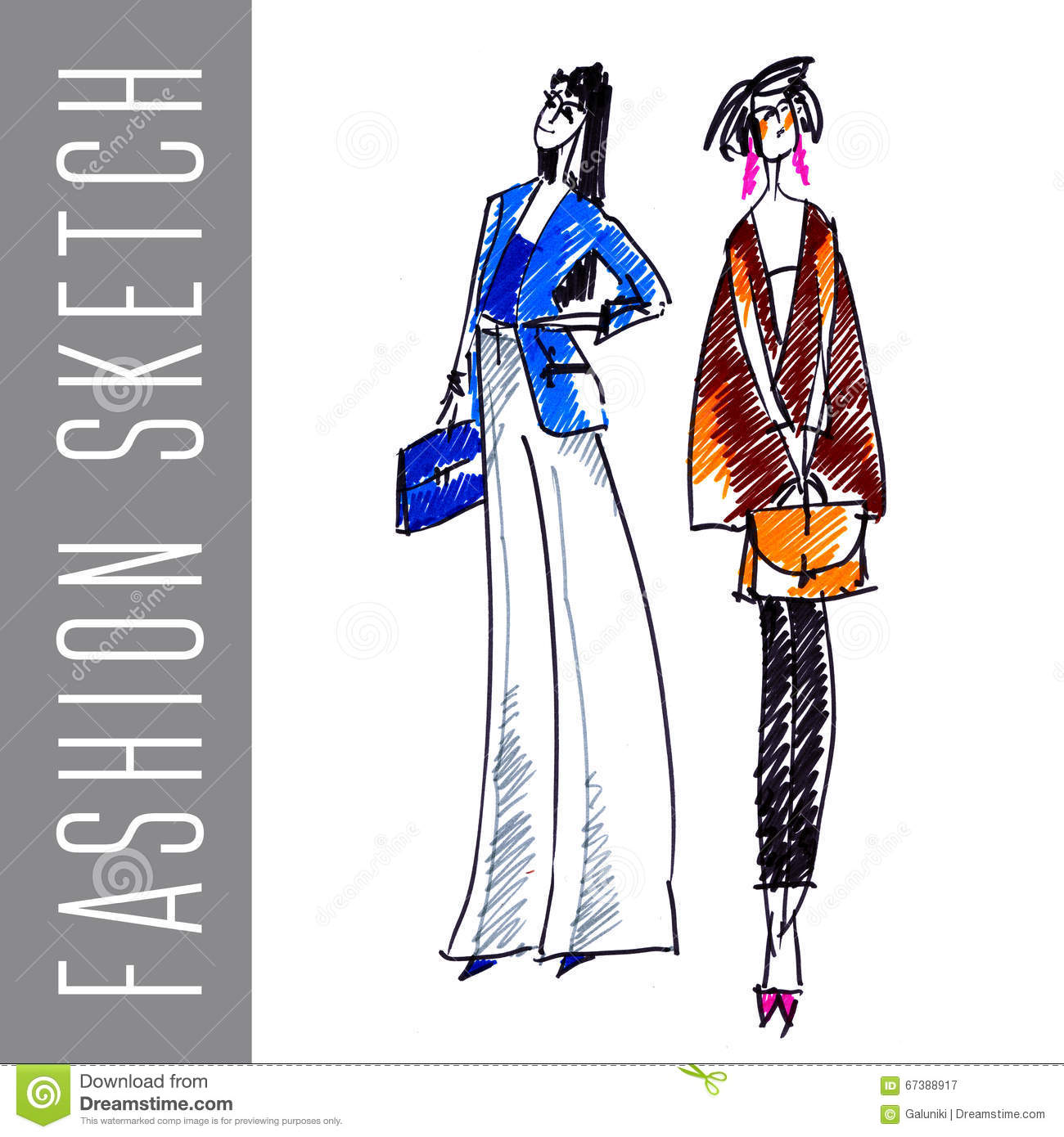 Fashion Sketch Stock Illustration Illustration Of People 67388917