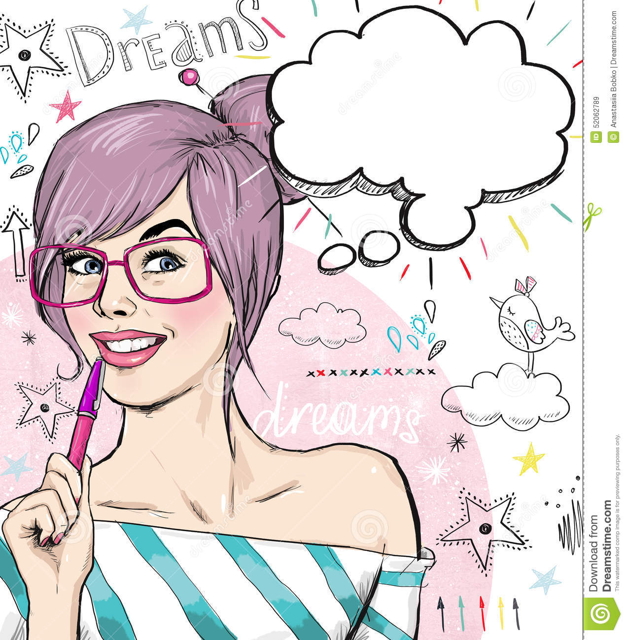 Fashion sketch illustration girl with pen in the hand with speech bubble student girl download preview