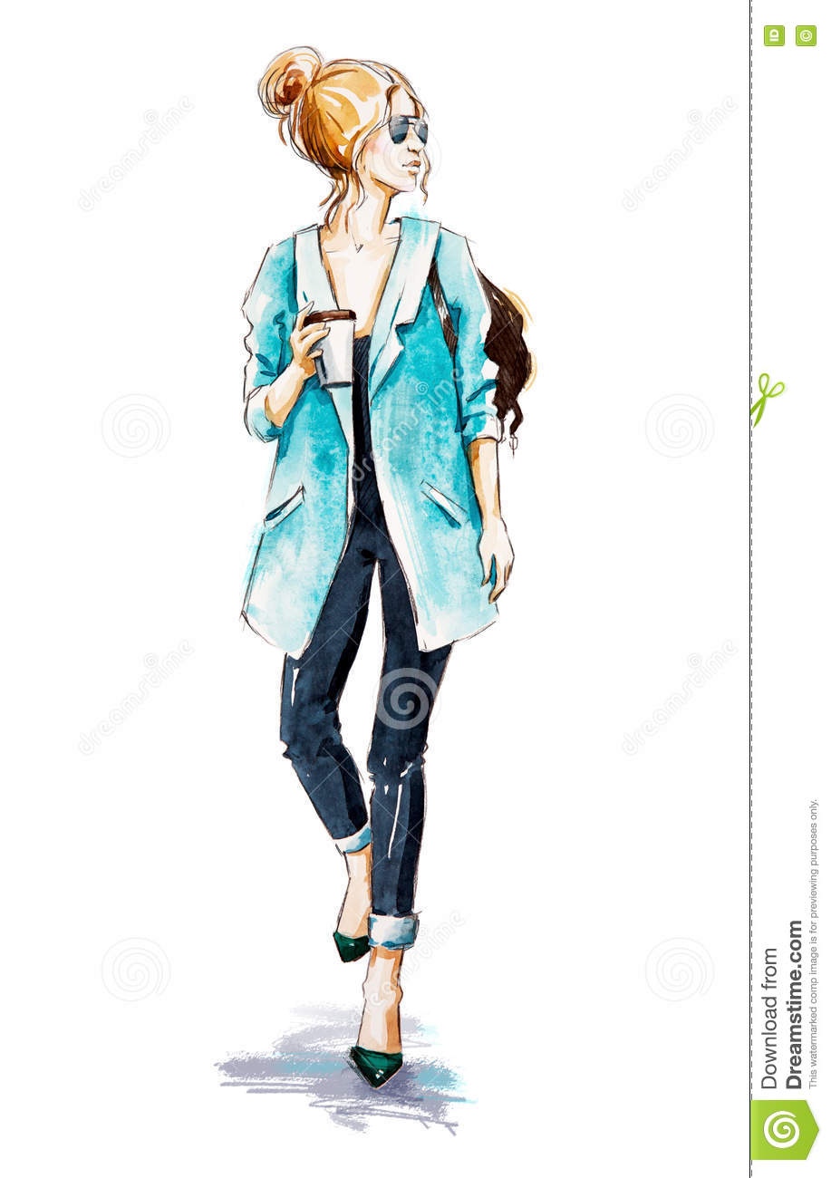 Fashion sketch street style girl with coffee stock Fashion street style girl