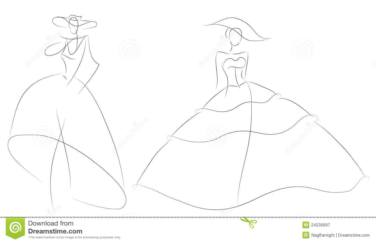 Fashion Sketch Woman Model In Retro Wedding Dress Stock Vector ...