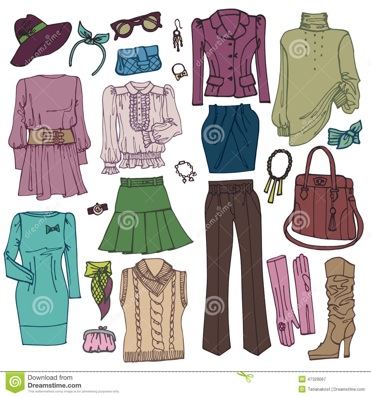 Fashion Sketchy.Womans Clothing And Accessories Stock ...
