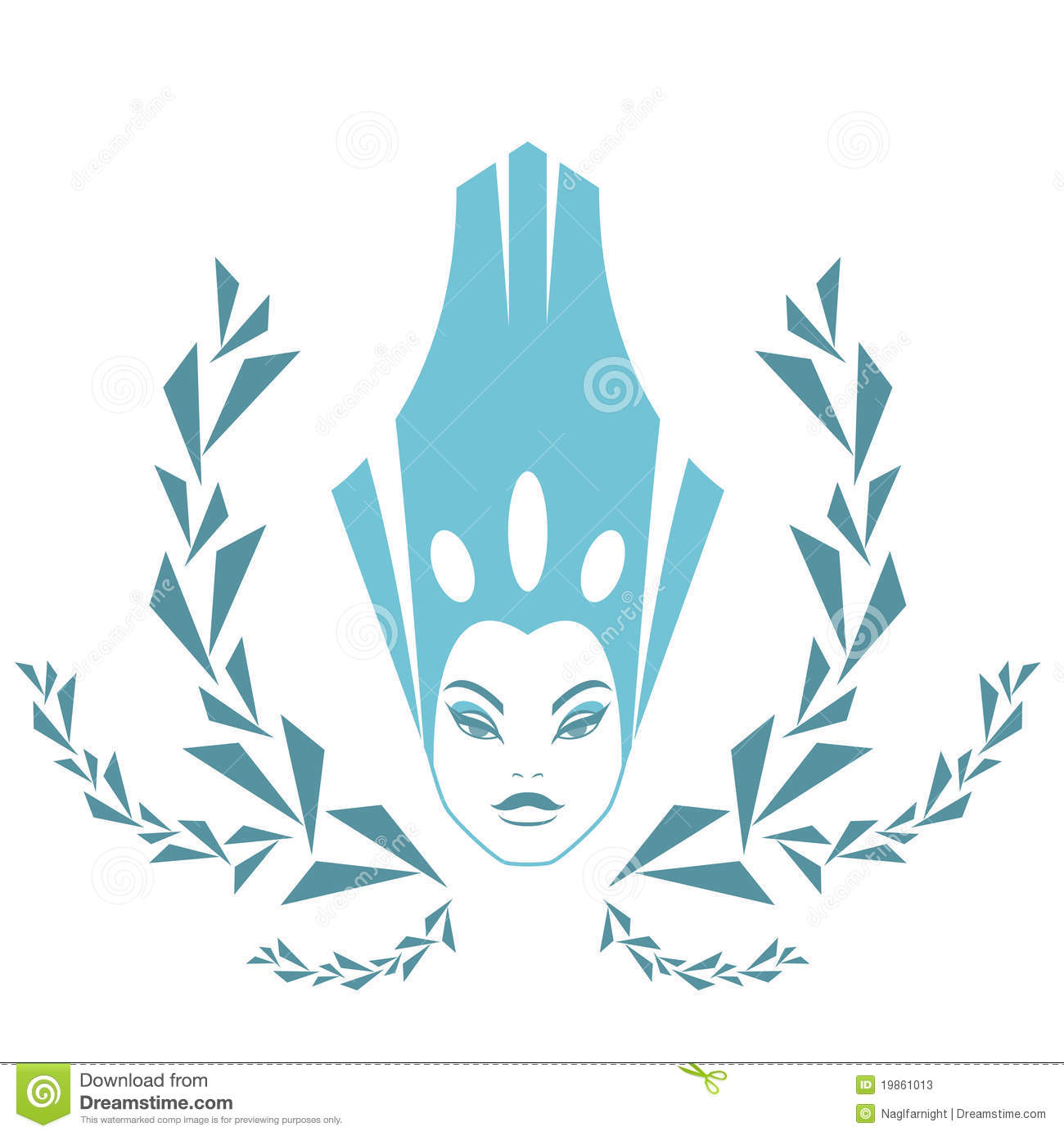 fashion snow queen logo woman face in ice crown stock