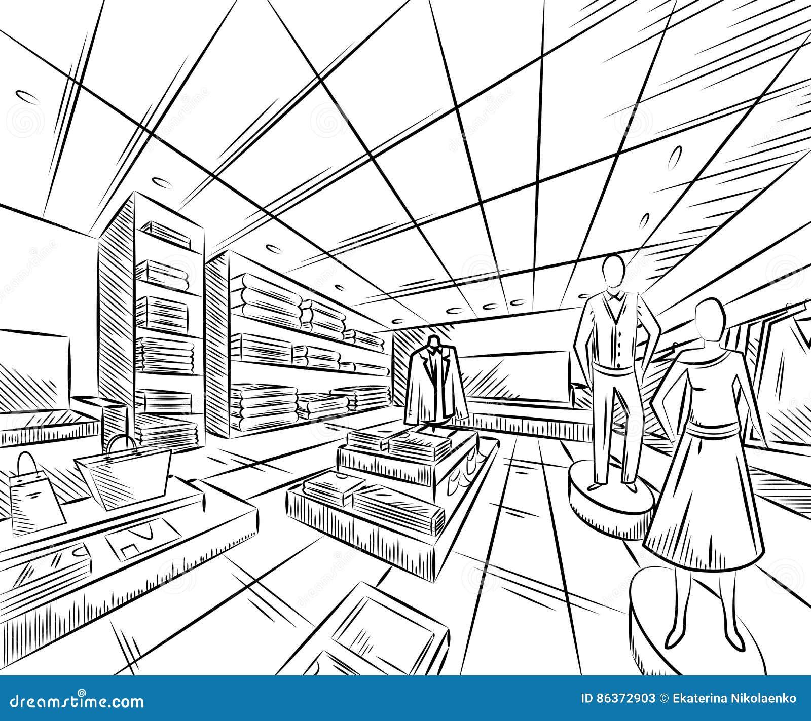 Fashion Store Interior Design In Sketch Style Stock Vector Image 86372903