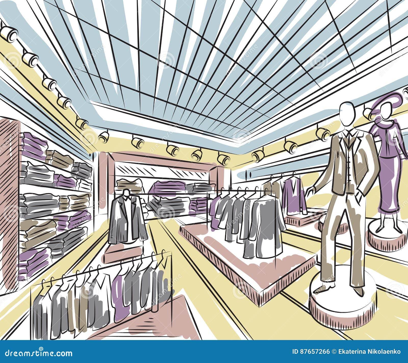 Fashion Store Interior Design In Sketch Style Stock Vector Image 87657266