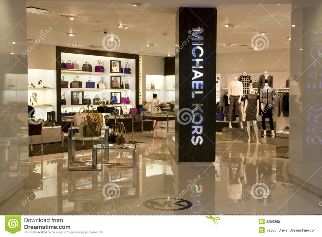 luxury store was selling upscale purses, shoes and clothing at