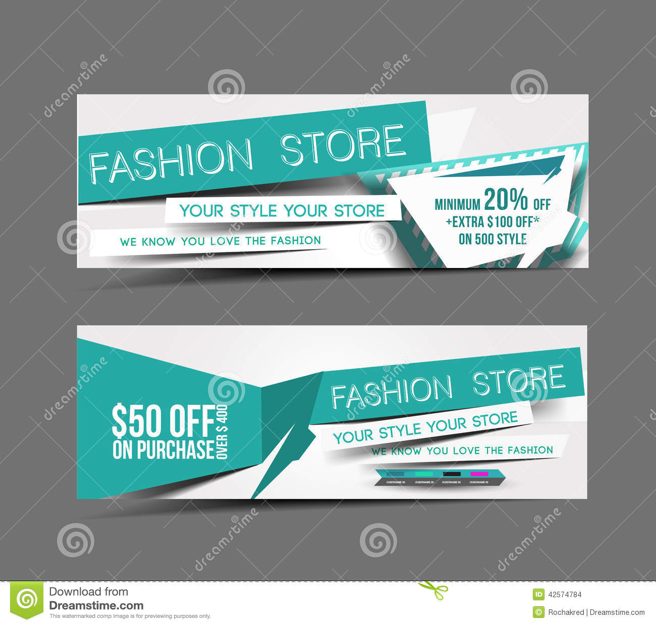 Fashion Store Web Banner Stock Vector Illustration Of Background