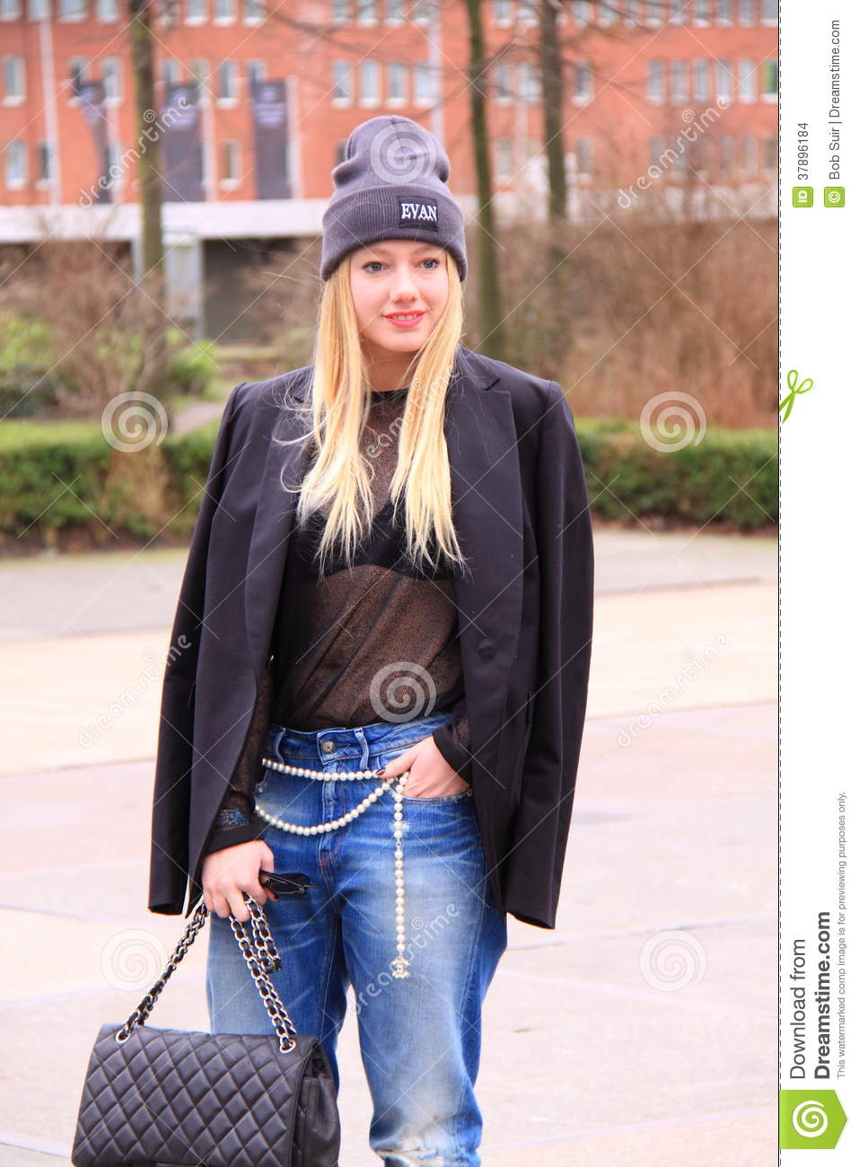 Blond Dutch Woman Street Fashion Editorial Photo 60770537