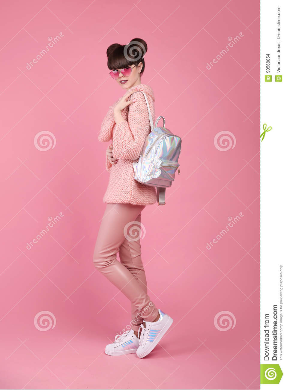 Teen Girl With Pink Sweater And Backpack Royalty-Free ...