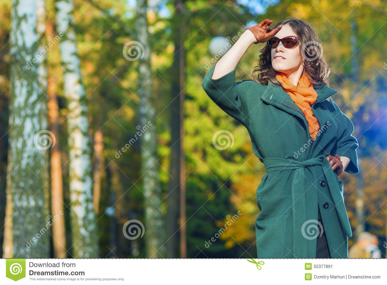 Fashion And Style Concept And Ideas Good Looking Caucasian Female Model In Green Coat Posing With Sunglasses In Autumn Forest Stock Image Image Of Nature Fashion 55377891
