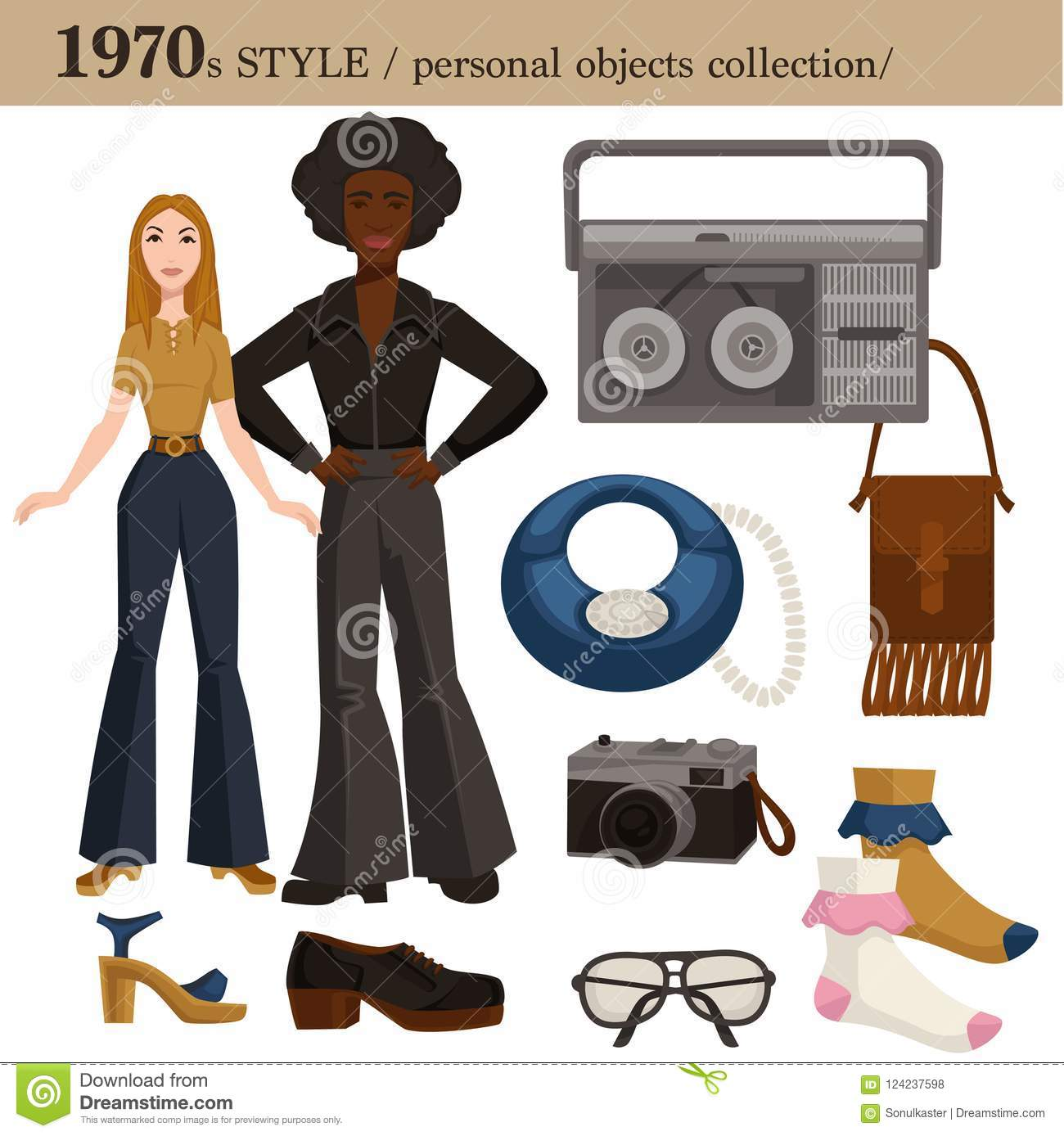 1970 Fashion Style Man And Woman Personal Objects Stock Vector