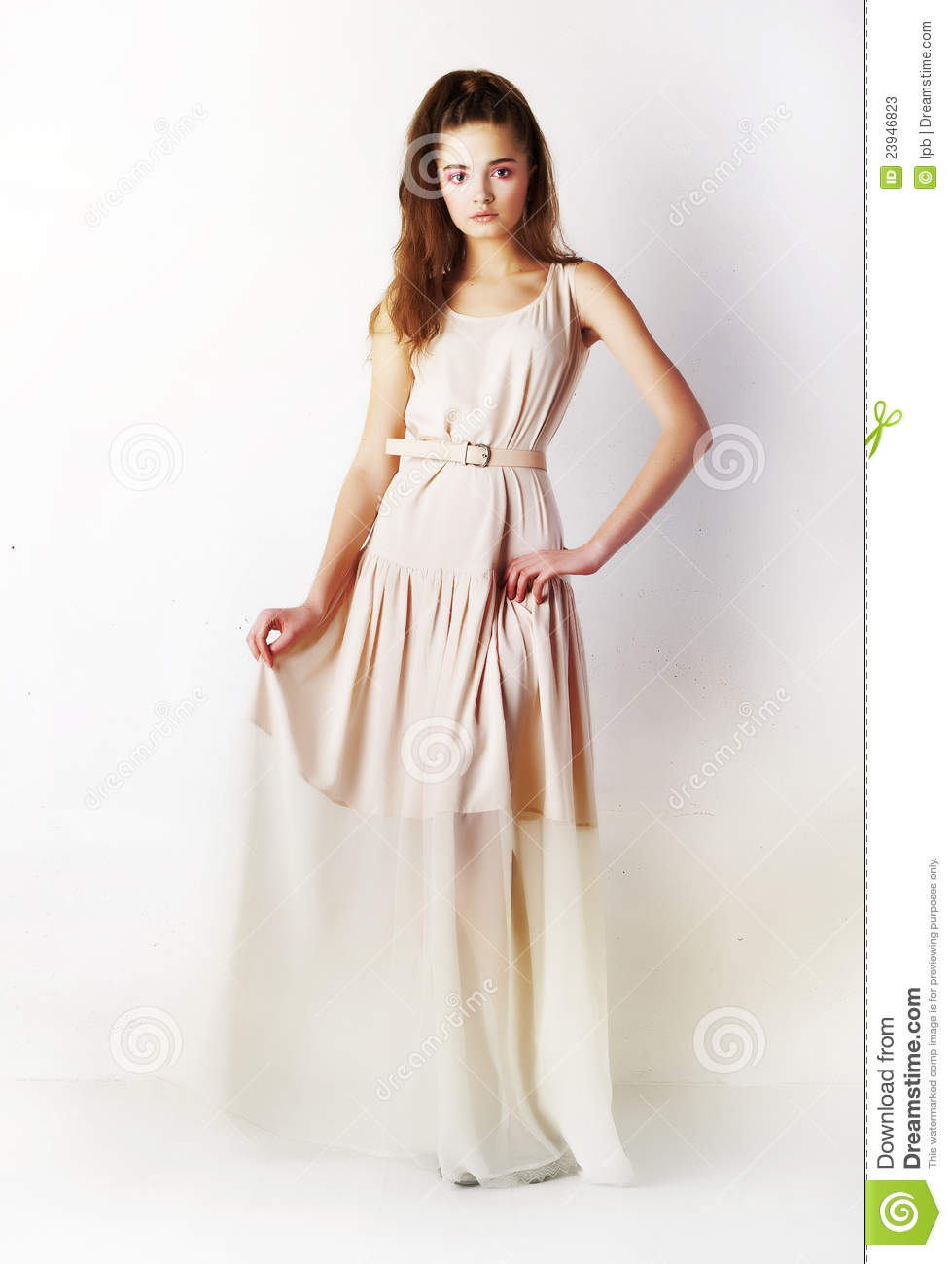 Fashion Style - Stylish Girl In Funky Long Dress Stock ...