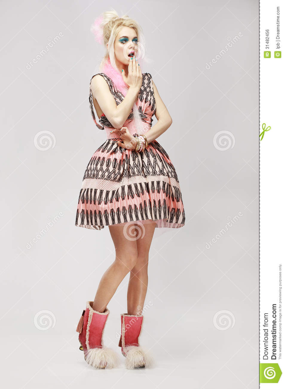 Trendy Fashionable 11 13 Year Old Ethnic Multi Cultural: Fashion Style. Surprised Eccentric Woman In Trendy Dress