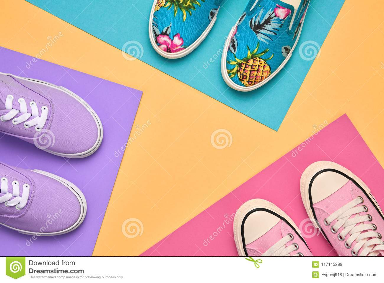 0050d3421f9d8c Stylish Trainers shoes. Minimal Design. Summer Hipster Girl Essentials.  Shopping Sale Discount concept. Glamor Trendy Sneakers Set. Flat lay.  Creative Art. ...