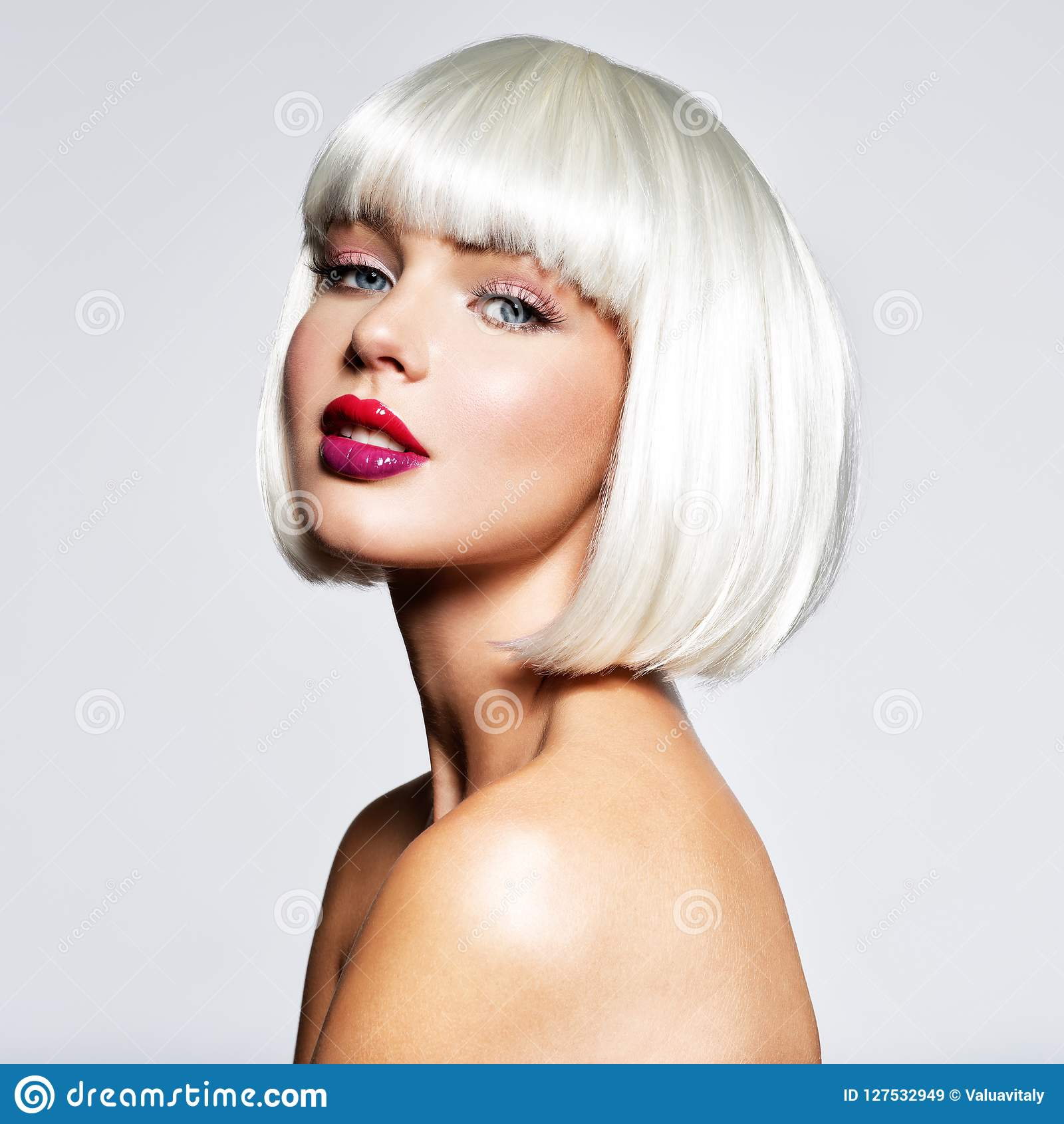 8950868070f Fashion Stylish Portrait with White Short Hair. Beautiful Girl`s Face with  Haircut. Hairstyle. Fringe. Professional Makeup. Make-up. Fashion portrait  of ...