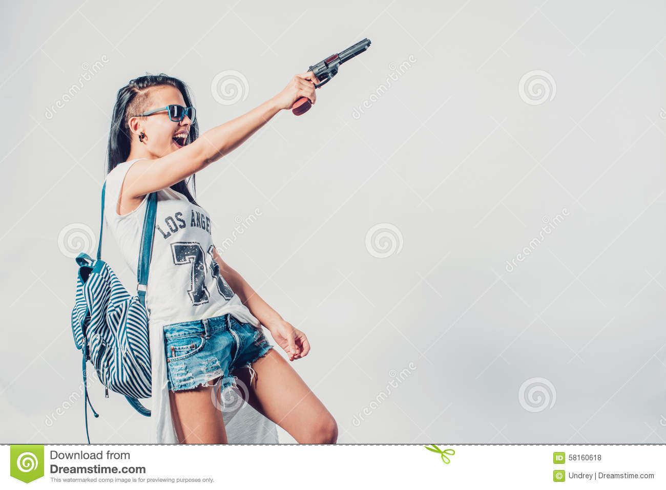 Download Fashion Swag Girl Holding Gun Woman Having Stock Photo , Image of  gangster, glamour