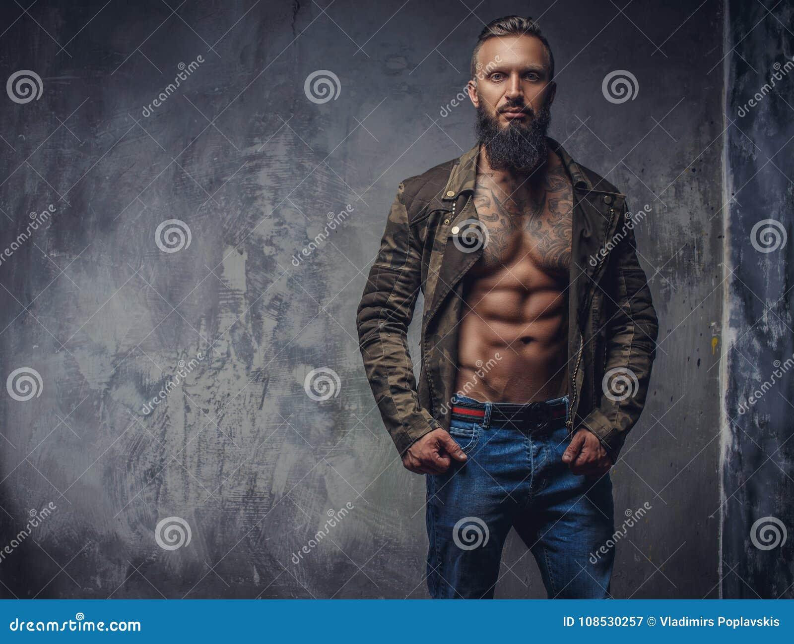 77fde92f2 Fashion Tattooed Man With Beard. Stock Image - Image of model ...