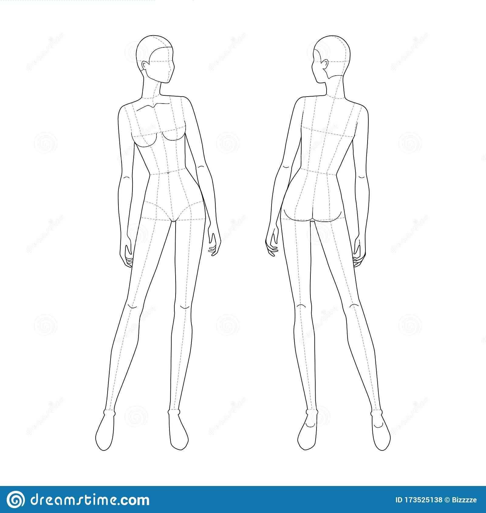 Fashion Template Of Standing Women Stock Vector Illustration Of Design Drawing 173525138