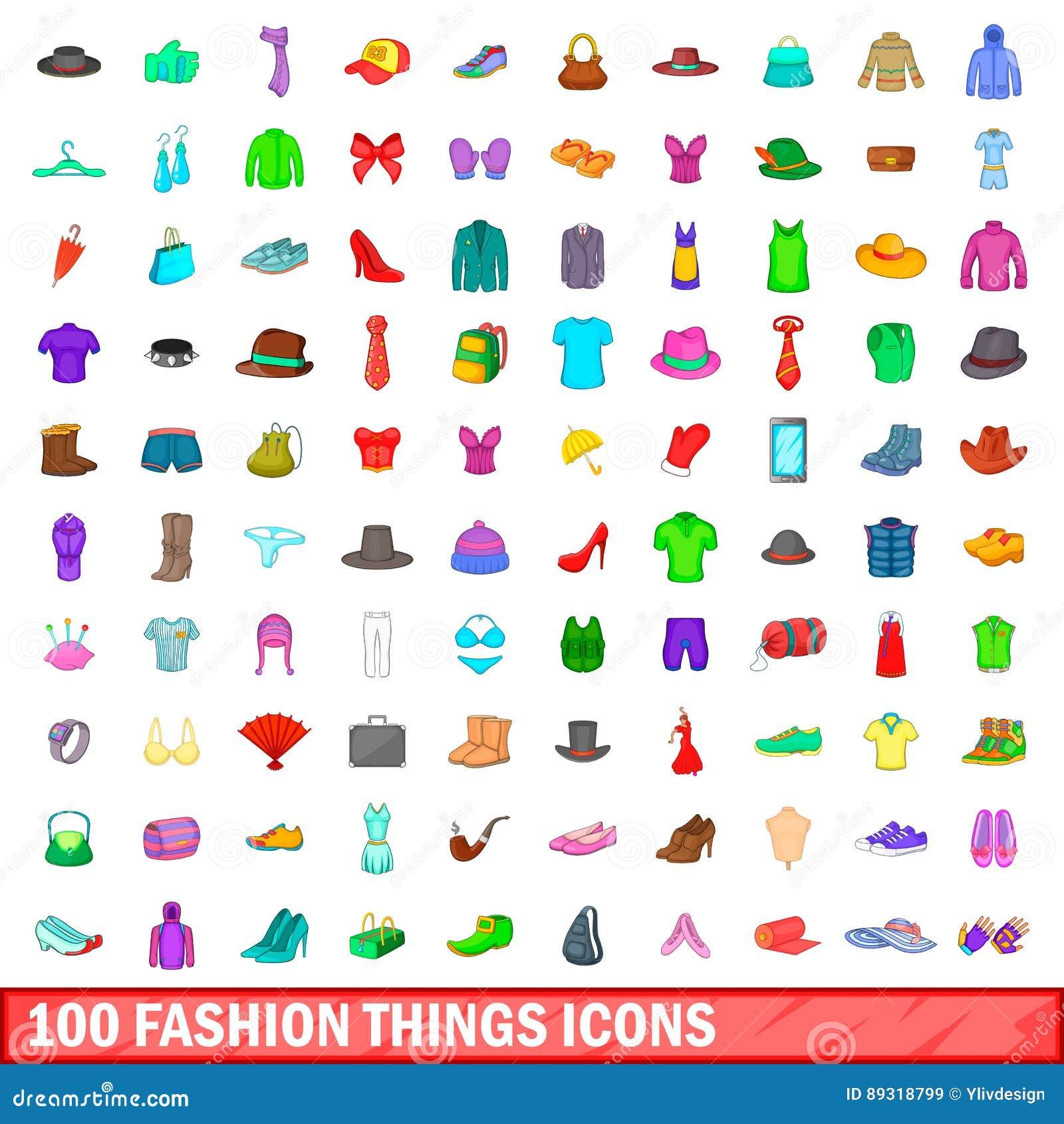 100 Watch Icons Set Cartoon Style Cartoon Vector