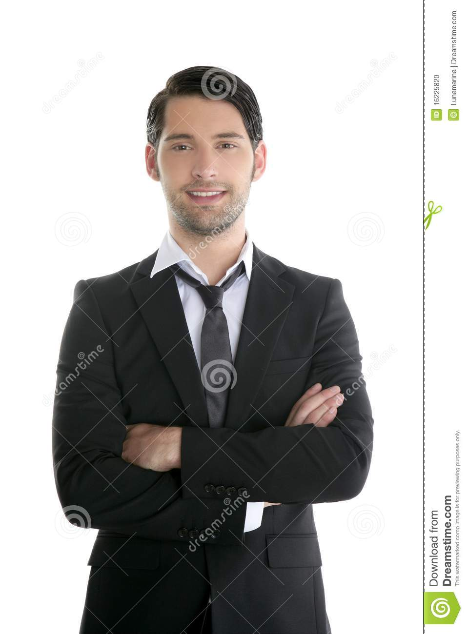 Fashion Trendy Elegant Young Black Suit Man Stock Photo - Image ...