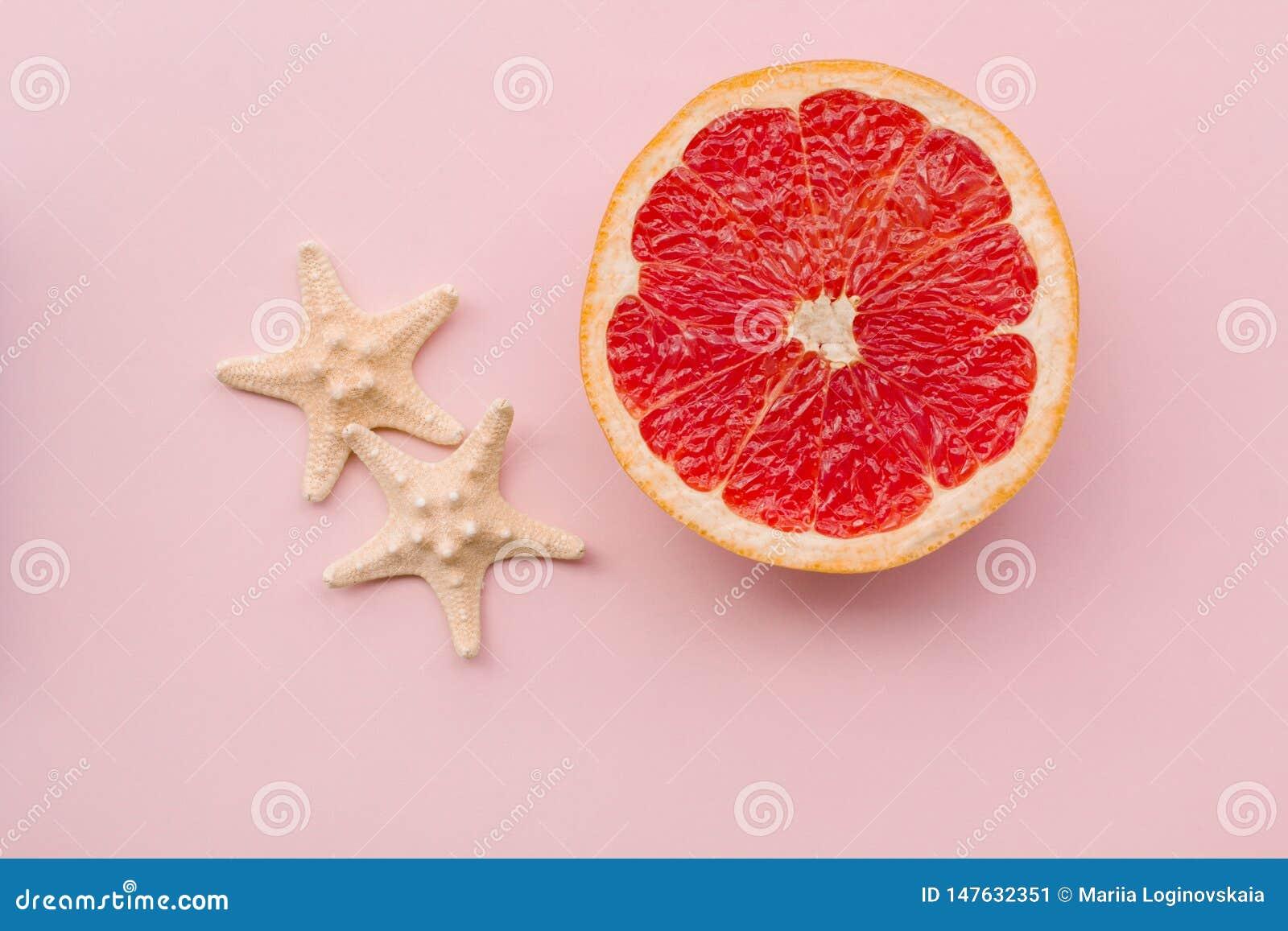 Fashion. Tropical Fresh Summer Set. Fashion Design. Fruit Citrus. Grapefruit. Bright Color. Creative Art. Minimal. Fashion Top Vie