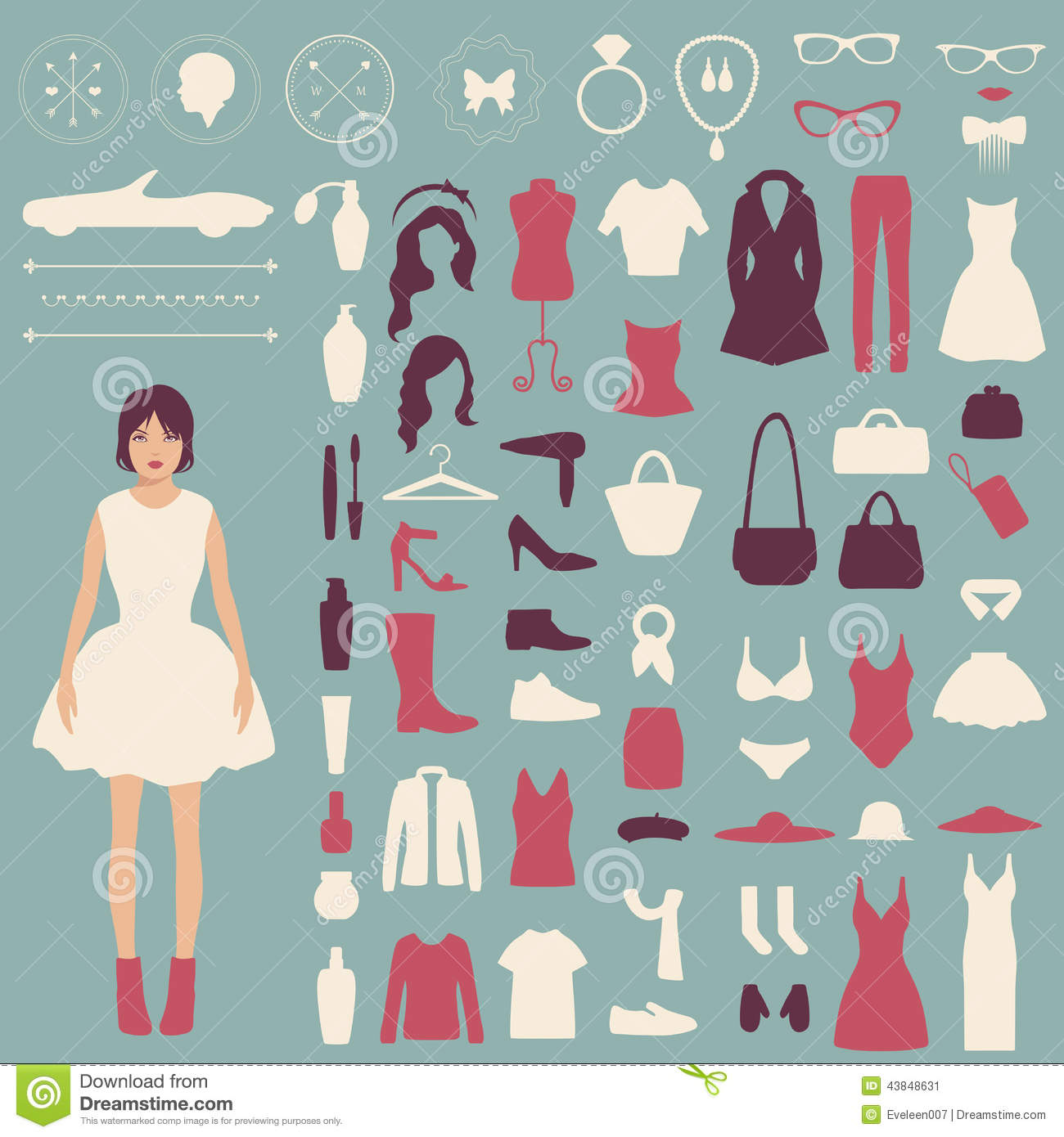 Fashion Vector Icons Stock Vector Illustration Of Black 43848631
