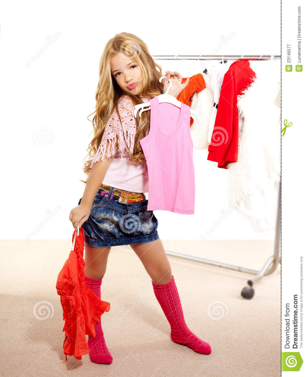 Fashion Victim Kid Girl At Backstage Wardrobe Royalty Free Stock ...