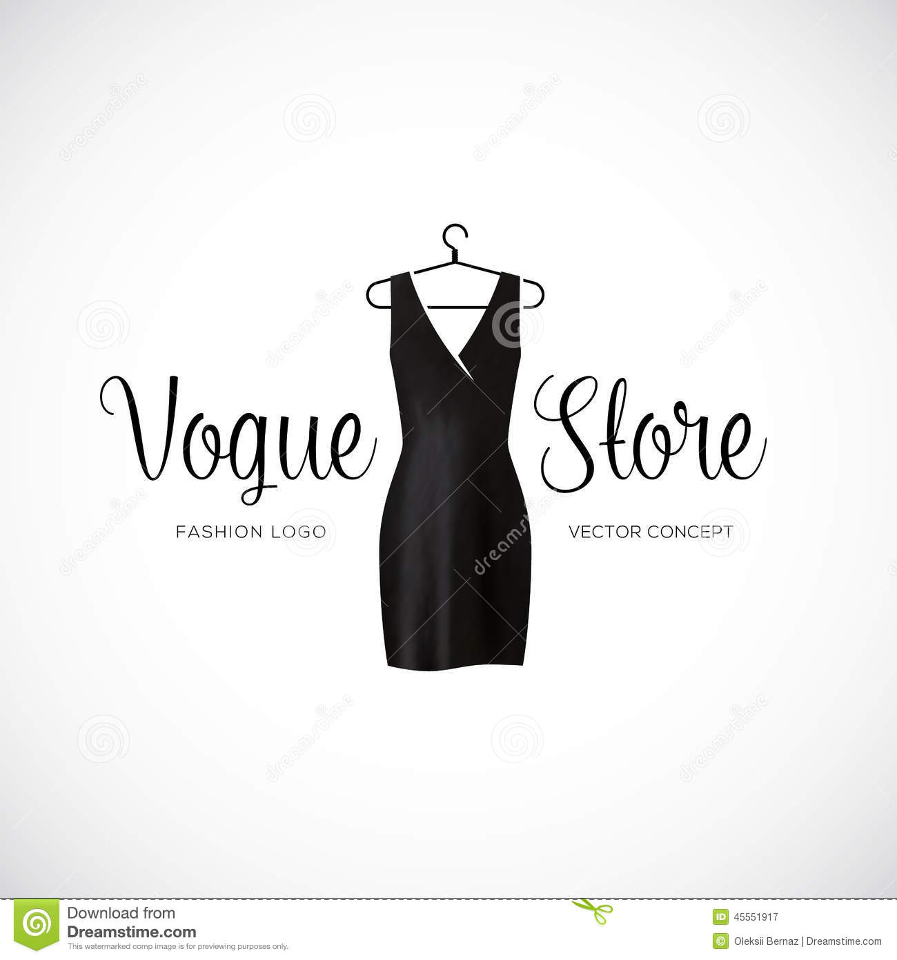 Fashion Vogue Store Logo Template With Black Dress Stock