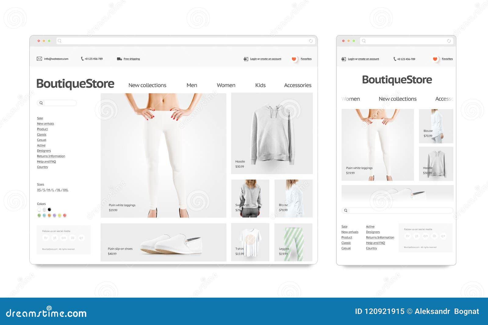 Fashion web store template mock up set isolated stock illustration fashion web store template mock up set isolated maxwellsz