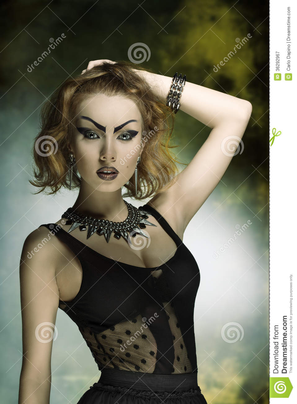 Fashion Woman With Bizarre Style Stock Image - Image of