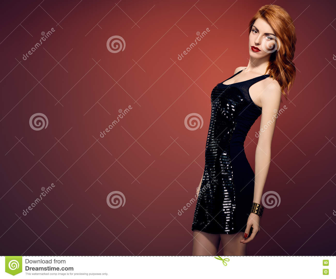629425b7a9 Fashion Redhead Woman In Glamour Sequin Black Dress Stylish Luxury Party  Outfit Playful Model Girl Trendy