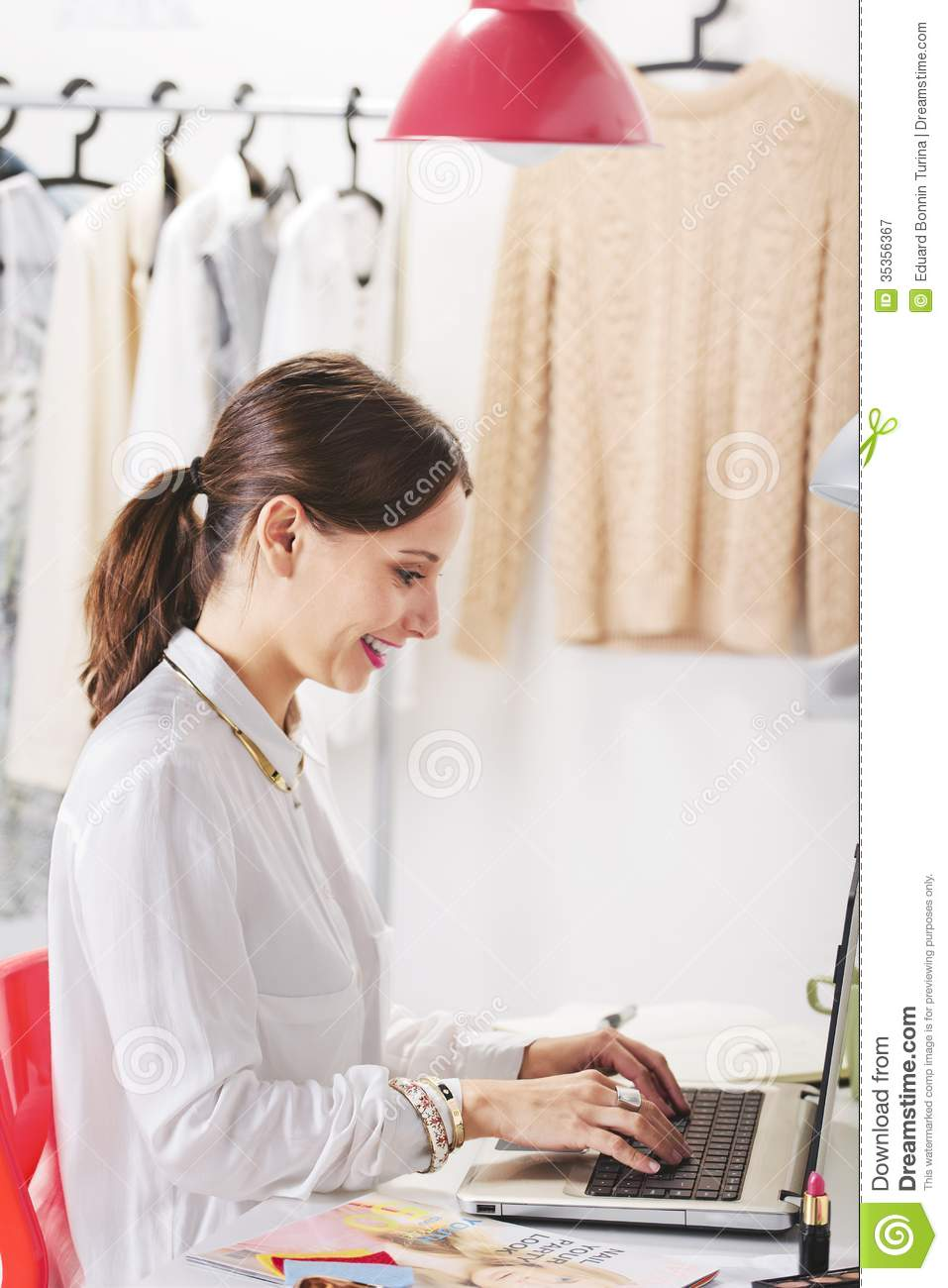 Fashion Woman Blogger Working In A Creative Workspace ...