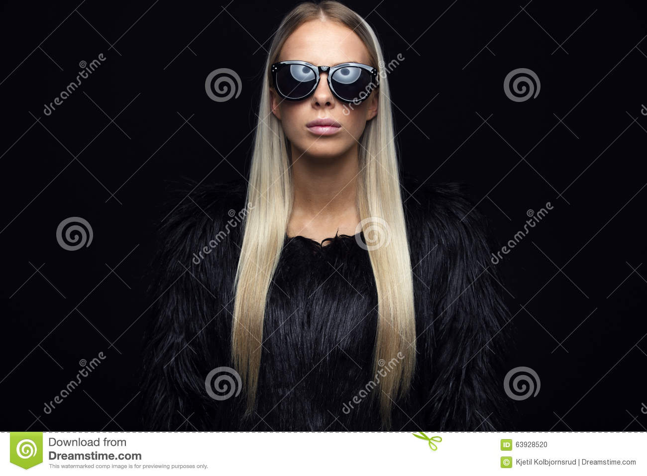 Fashion Woman With Hairy Jacket And Sunglasses Stock Photo - Image ...