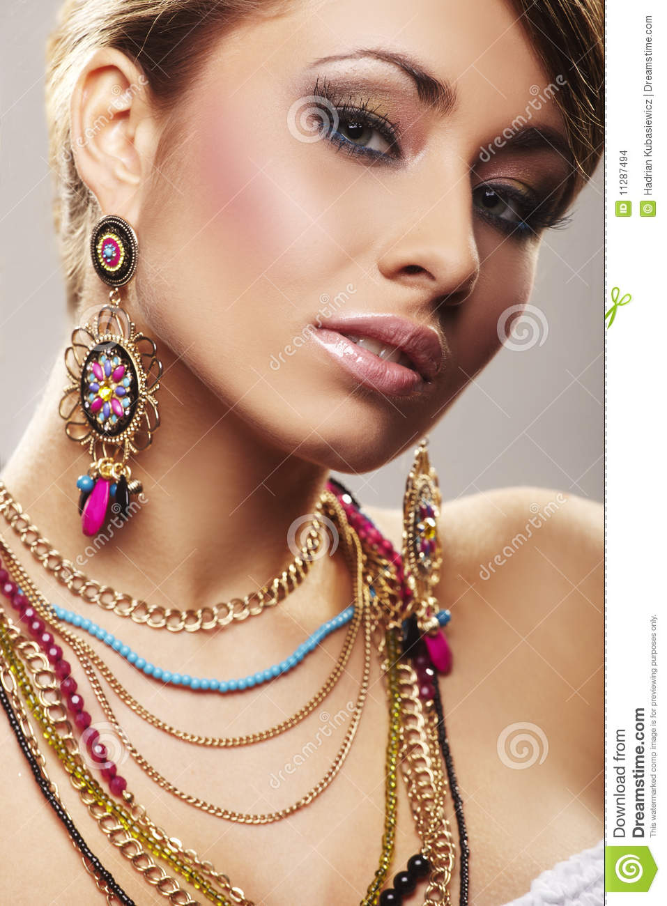 Fashion woman with jewelry stock photo. Image of gold ...