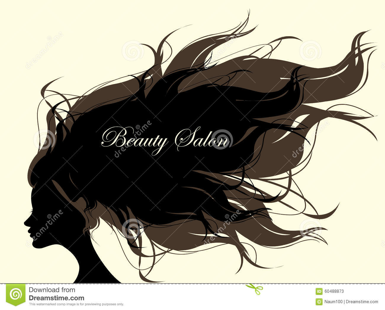 Fashion Beauty Salon: Vector Illustration Of Girl With Long Hair. Woman Model