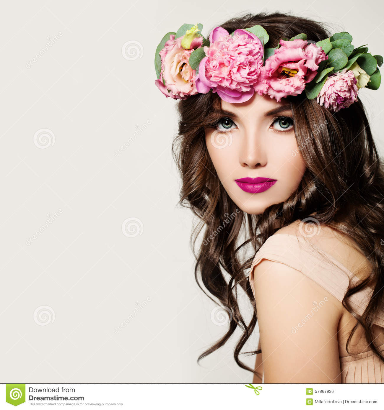 Fashion woman makeup curly hair and pink flowers stock photo makeup curly hair and pink flowers mightylinksfo