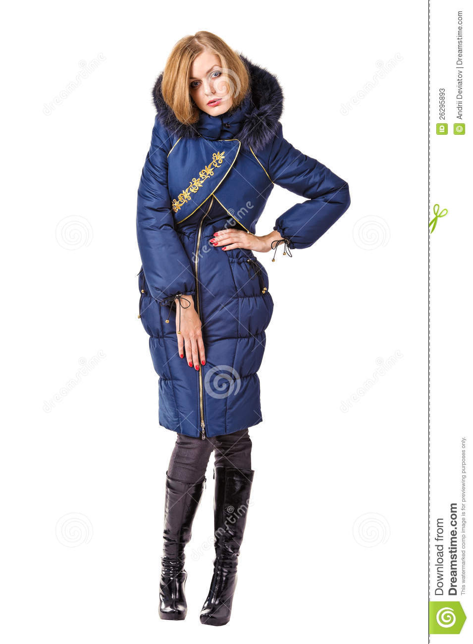 Fashion Woman In Red Down-padded Coat Isolated Stock Photos