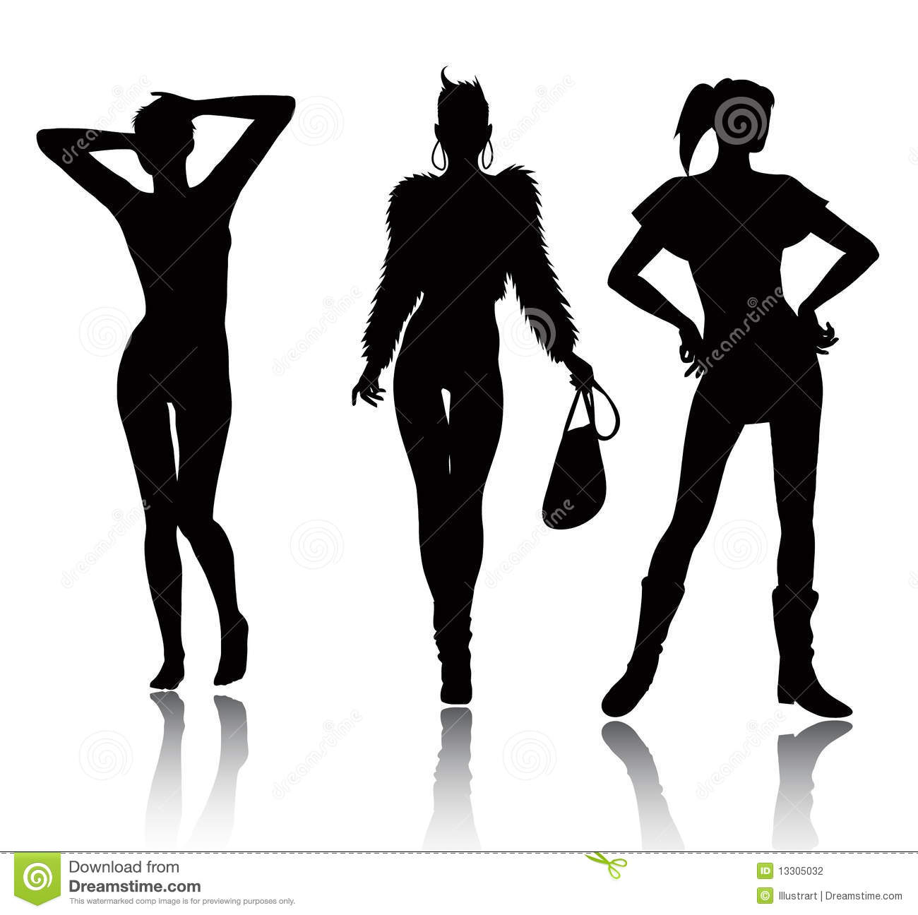 Fashion Woman Silhouette Set Stock Vector - Illustration ...