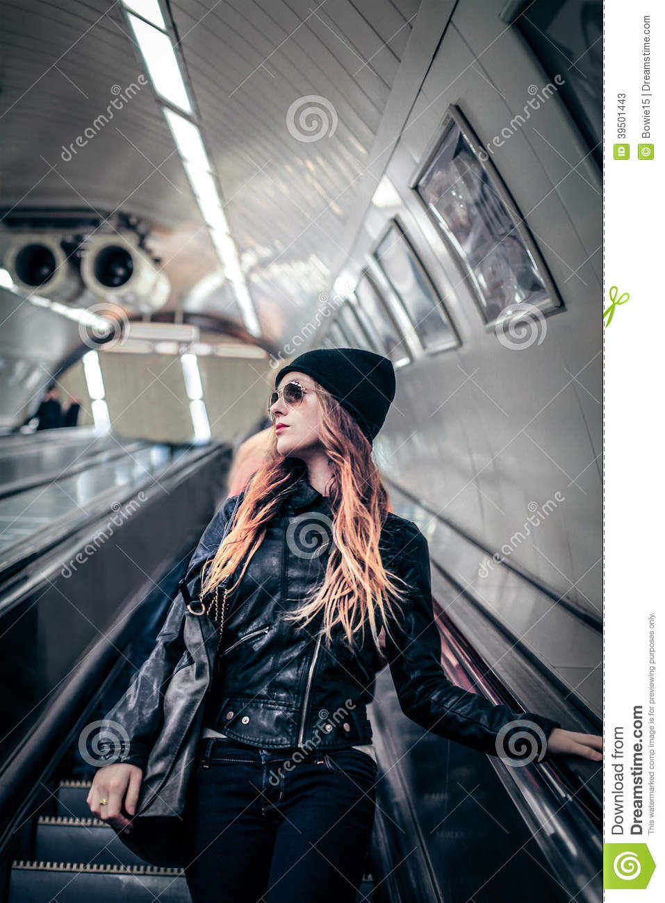 Fashion woman in the tube