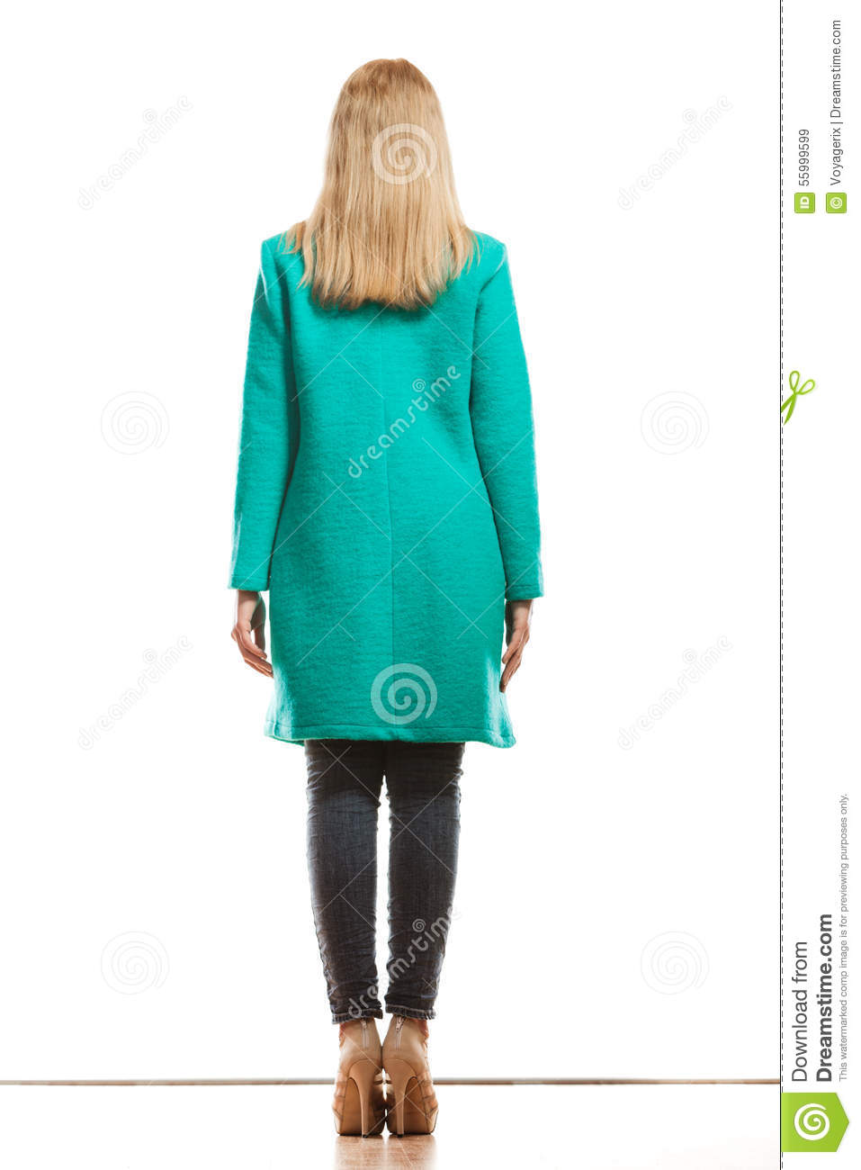 Fashion Woman In Vivid Color Green Coat Rear View Stock ...