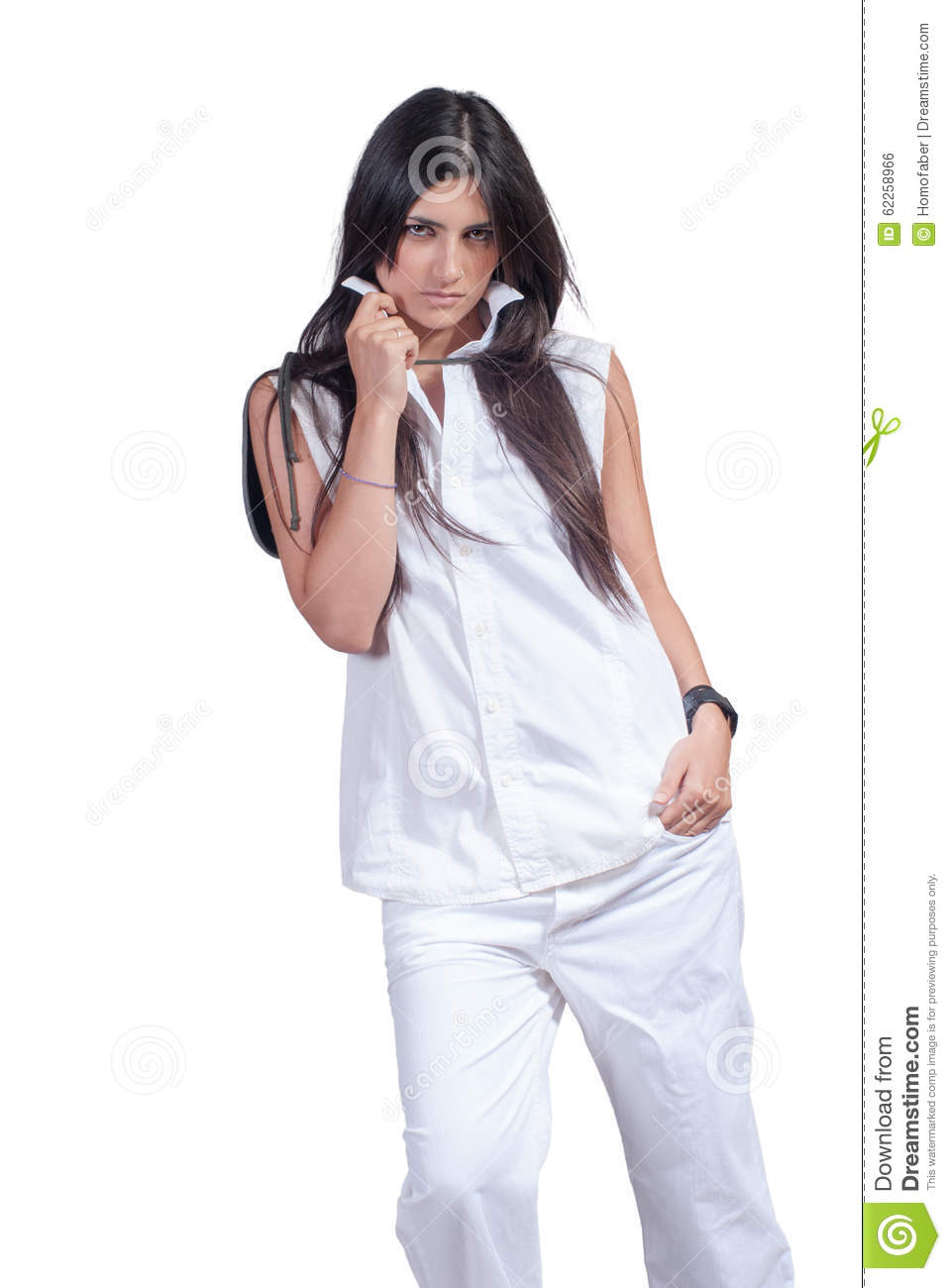 a86e2defedf Fashion Woman Wear White Pants And Shirt Isolated Over White Stock ...