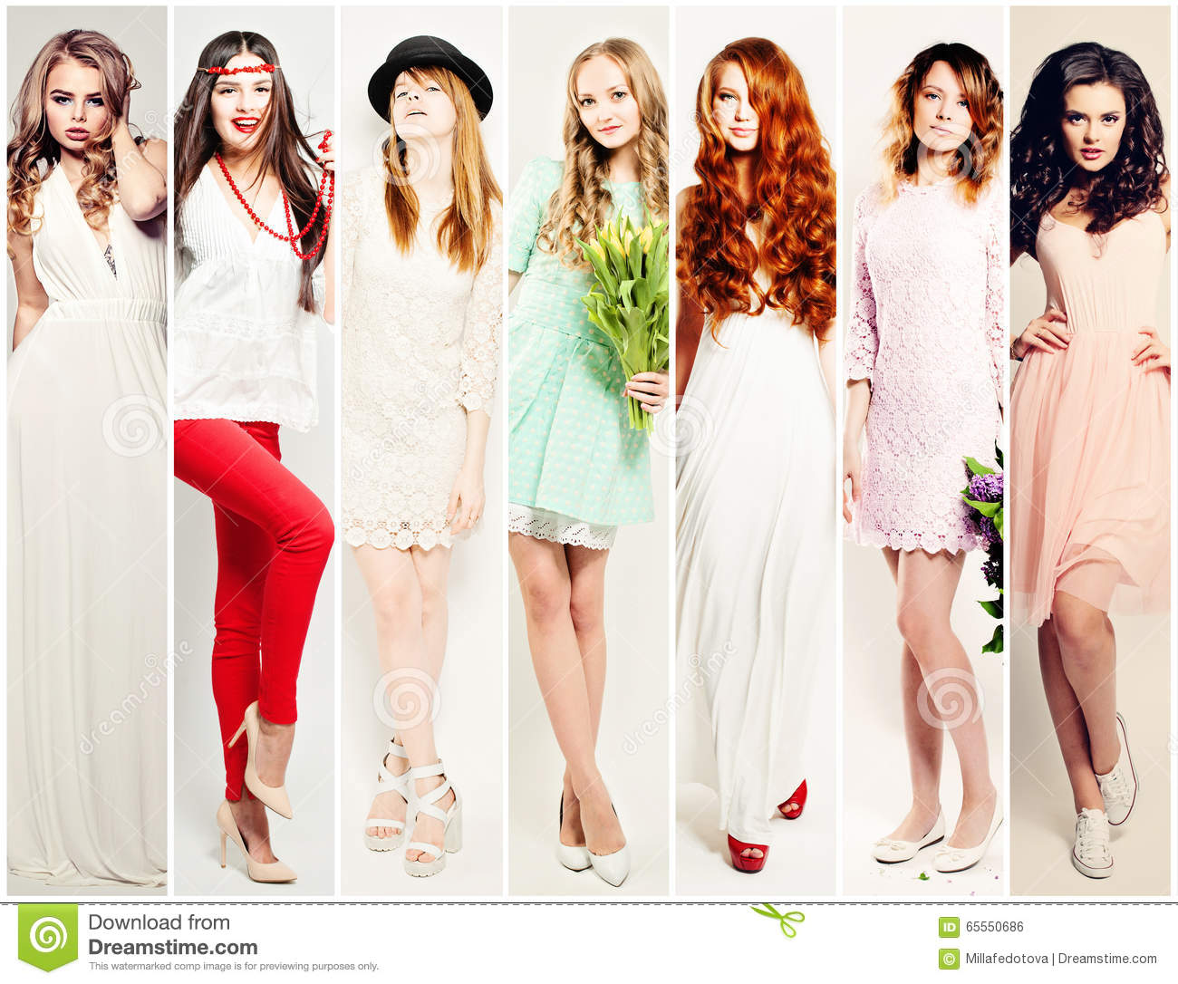 Fashion Women Collage. Beautiful Fashion Model Stock Photo