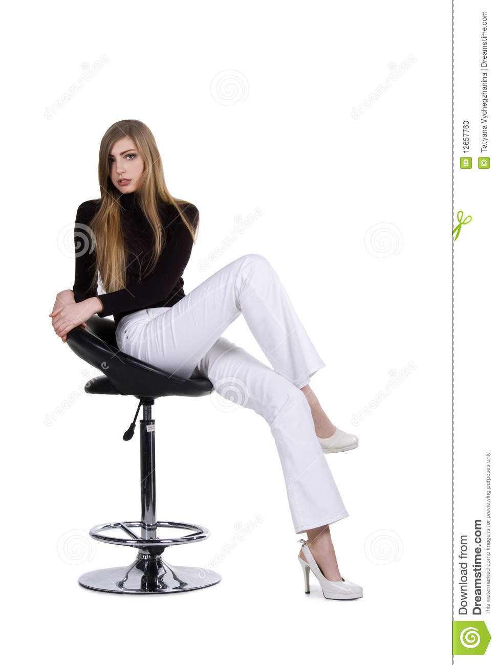 Fashion women sit on the chair stock photos image 12657763 for Sitting chairs