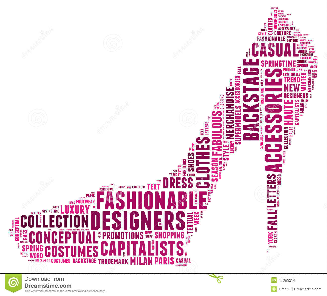 Fashion Word Cloud In A Shape Of High Heel Stock