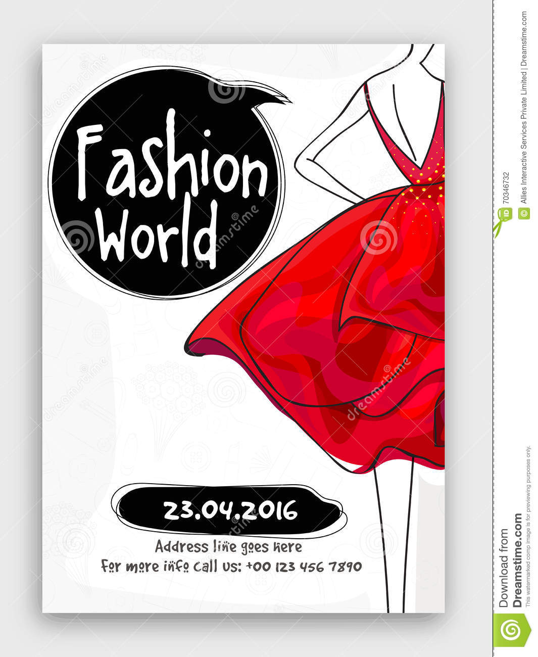 Fashion world flyer template or banner design royalty for Fashion flyers templates for free