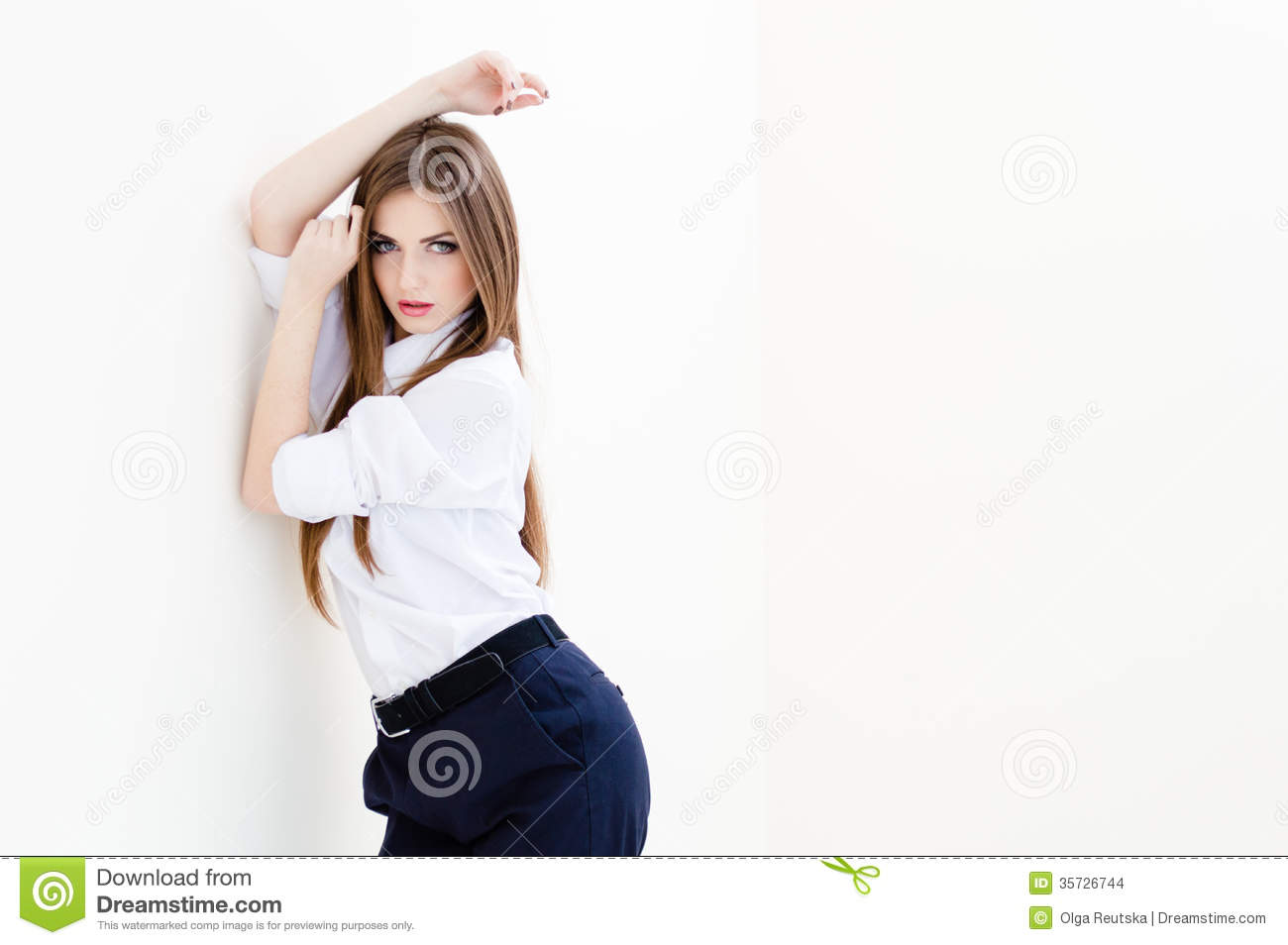 Young Woman In A White Man S Shirt Stock Photo - Image of